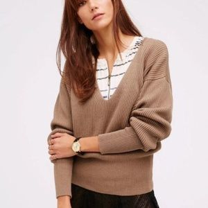 Free People Allure Pullover Sweater Taupe V Neck